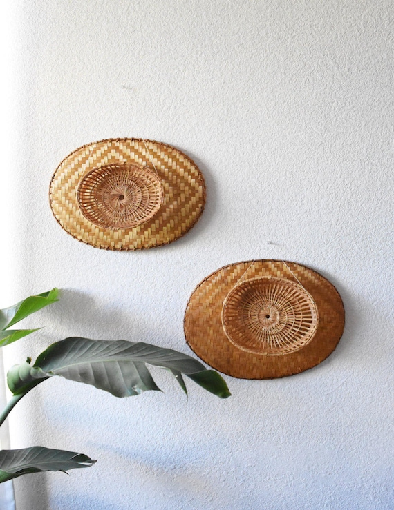 vintage pair of oval woven rattan wall baskets / set of 2