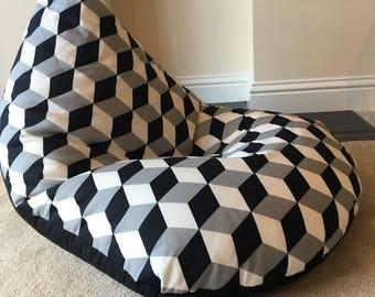 Large block Minecraft black grey white beanbag gaming reading chair