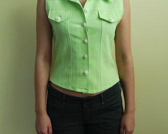 Vintage Neon Green Top, Crop Top, Hippie Style Top, Sleeveless Top, Botton Up Top, 1970s , Size M