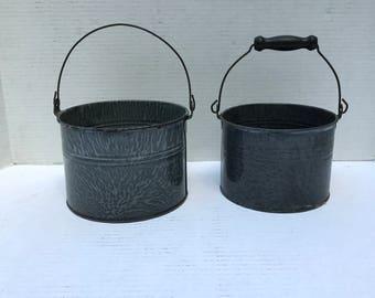 Antique Agite Berry Buckets, Granite Ware Buckets, Bail Handles. 1930s, Country Kitchen Decor,