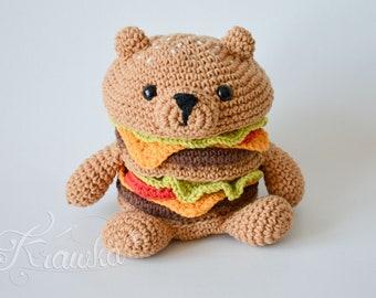Crochet PATTERN No 1807 HamBEARger tasty food pattern by Krawka