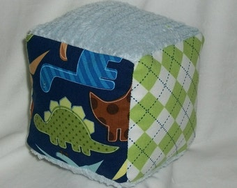 Urban Zoologie Dinosaurs and Argyle Fabric and Chenille Boutique Block Rattle