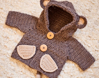 Crochet PATTERN - Monkey Hooded Cardigan (sizes baby up to 8 years)