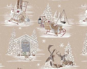 Fabric, Christmas, cotton 280cmL 140cmL linen, reindeer, snow, christmas, mountain, snow,