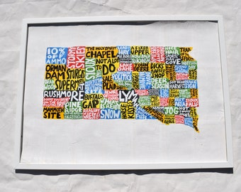 South Dakota Map Wall Art | SD poster | acrylic painting | home decor, map of South Dakota
