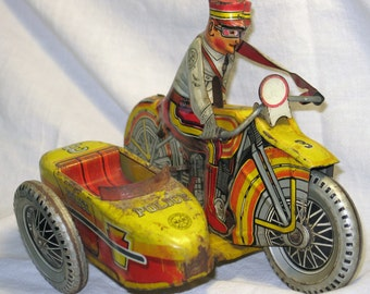 "Louis Marx Wind Up Tin Litho Toy ""Rookie Cop"" Motor Cycle Riding Policeman And Side Car"