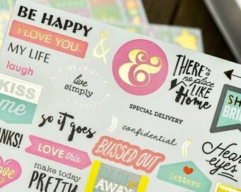 HAPPY Scrapbook Stickers Scrapbook Accessories