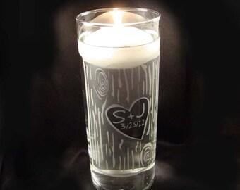 Gravé mariage personnalisé l'unité bougie Vase - Vase en verre bougie d'écorce de merisier rustique w / flottant bougie - unité bougie mariage
