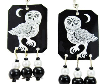 Night Owl & Moon Black and White Beaded Earrings