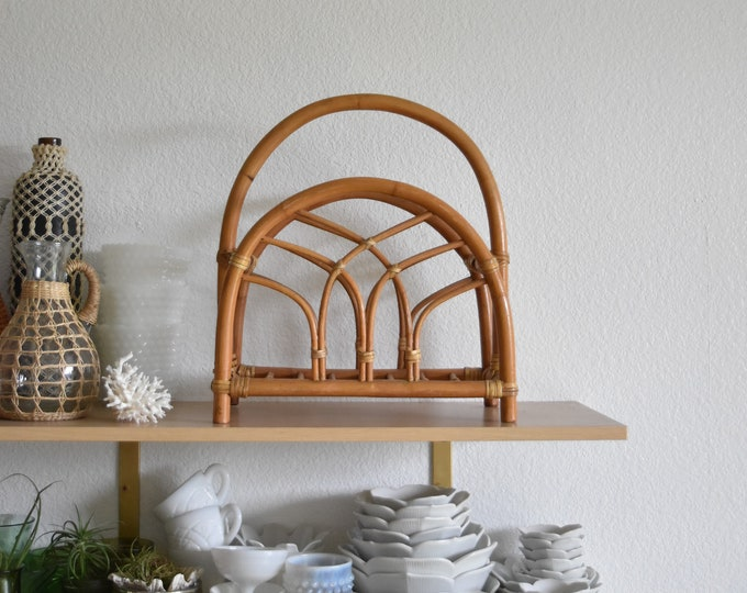 woven rattan bamboo mid century modern bamboo wood magazine rack