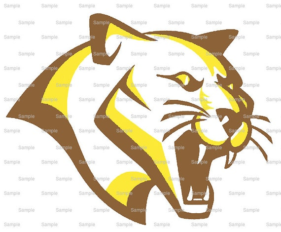 Brown & Gold Cougar Panther Team Mascot - Edible Cake and Cupcake Topper For Birthday's and Parties! - D10008