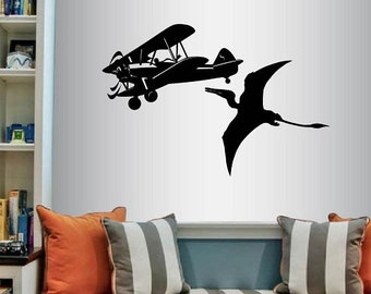 Wall Vinyl Decal Decor Art Sticker Aircraft Plane Airplane and Pterodactyl Dinosaur Boys Kids Nursery Bedroom Play Room Stylish Design 83