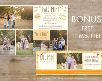 Mini Session Template - 5x7 marketing template - fall mini session template and matching facebook timeline - INSTANT DOWNLOAD