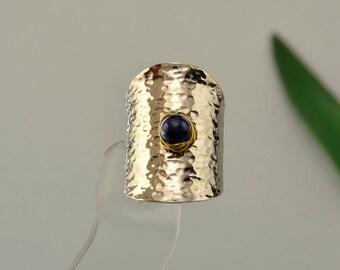 Silver hammered ring, lapis lazuli band, tribal ring, index finger ring, long boho ring, mixed metals ring, middle finger ring, women ring