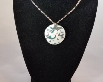 White, Teal, and Gray dome pendant