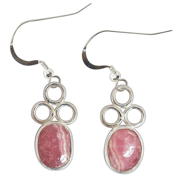 Rhodochrosite and Sterling Silver Earrings  erhce2234