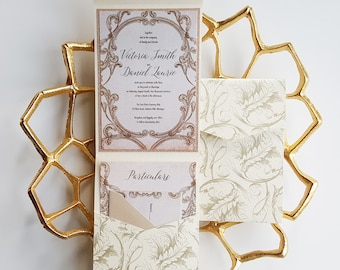 "Fairytale wedding invitation Pocket fold wedding invite romantic princess wedding invitation sample {""Calming"" design}"