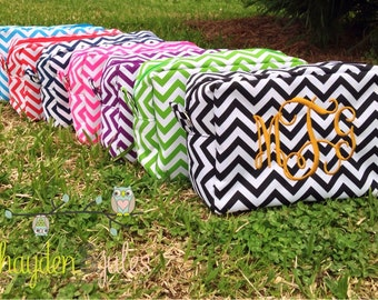 Monogrammed Chevron Cosmetic Bag