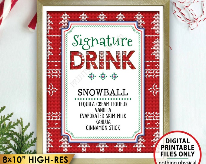 """Signature Drink Sign, Ugly Christmas Sweater Party Signature Cocktail Christmas Party Sign, Tacky Sweater Party, 8x10"""" PRINTABLE Bar Sign"""