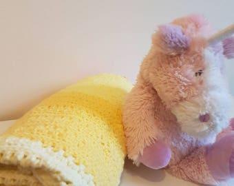 sunshine yellow, crochet baby blanket ,cot blanket, pram blanket,