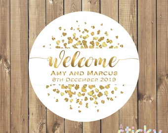 Personalized Wedding Stickers, Wedding Labels, Welcome Sticker, Wedding Favor Sticker, Welcome Bag Sticker, Welcome Wedding, White and Gold