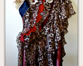 Leopard dress brown satin upcycled safari slipdress size large red petals vintage lace gypsy boho tribal bohemian