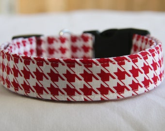 Red and White Houndstooth- Adjustable Dog- Adjustable Dog- Pet Collar-Small to Large Breed Dog-1 inch 1.5 -2 inch width