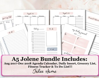 A5 Planner Inserts, A5 Inserts, Printable A5 Bundle Inserts: Printable Jolene Planner Insers