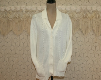 Vintage 70s White Cardigan Sweater with Pockets Women Medium 1970s Clothing Sears Made in Japan Vintage Clothing Womens Clothing