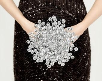 Wedding Bouquets - Bridesmaid Bouquet of Beautiful Silver Mirrored Beads - Bridesmaid Bouquet - Small Bridal Bouquet