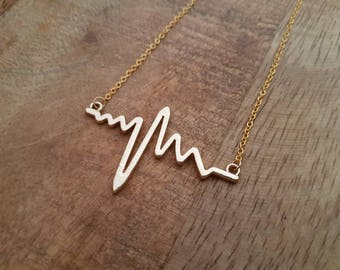 Heart beat gold necklace