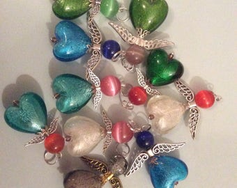 Set of 5 large size glass angels