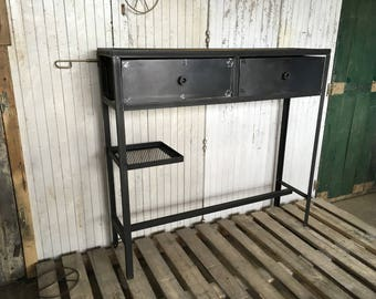 High industrial steel and wood cabinet console
