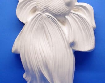 Ready To Paint/DIY/Plaster/ChalkWare/PlasterCraft Wall Décor/Wall Hanging/Wall Plaque Betta Fish Facing Right #593