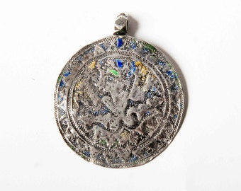 Antique Indian silver pendant enamel with diety