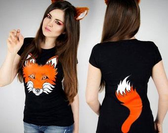 Fox Tshirt Tail ginger black nerd cosplay lolita kawaii petplay anime