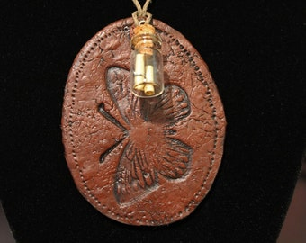 """Faux Leather Tag Butterfly Necklace, Polymer clay, Handmade, 24.5"""", Vintage"""