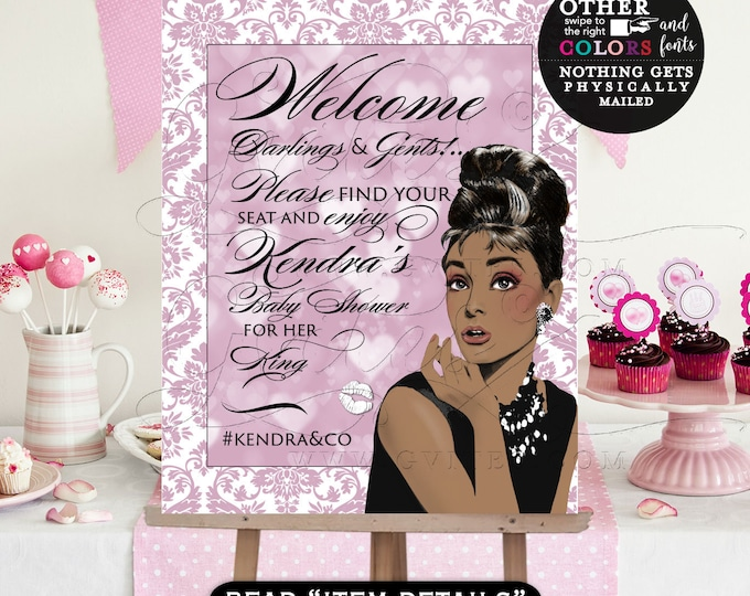 Audrey Hepburn Welcome Baby Shower Poster Sign, Printable, African American Breakfast at and Co Party Themed, DIY, Digital, Gvites
