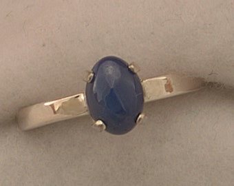 Blue Star Sapphire Argentium Silver Stacking Ring