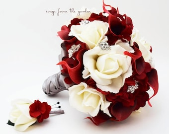 Red bridal bouquet etsy more colors white roses deep red calla lilies rhinestones bridal bouquet mightylinksfo
