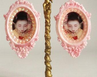 pink geisha earrings white japanese studs cherry blossom japan jewelry bridal jewelry wedding earrings bride jewelry marriage earrings long