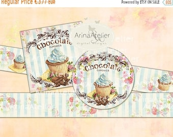 SALE - 40% OFF Labels Shabby Chic Chocolate Cupcakes - Set of 2 Printable Sheet - digital Labels - digital Tags - Collage Digital Cards