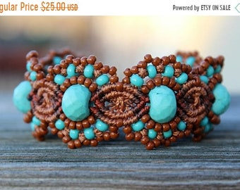 SALE Micro-Macrame Beaded Cuff Bracelet - Turquoise and Brown