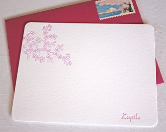 Personalized Letterpress Stationery Cherry Blossoms Spring Pink