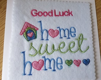 new home embroidered greeting card