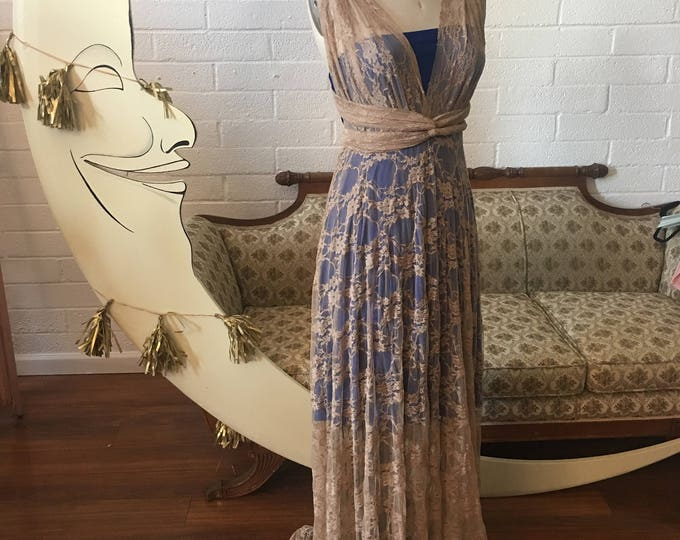 Fine Art Coralie Beatrix Full Lace with Short Slip Octopus Infinity Wrap Dress~ Cocktail, Bridesmaids, Prom, etc.~ Custom Combine Fabrics.
