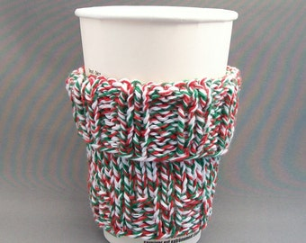 Handknit Cozy Coffee Cup Mug Sleeve Red Green White Tweed Cotton Xmas Fall Knit Autum Vegan Eco Friendly Back to School