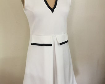 White  Dress  V Neck Dress