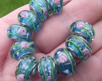 Lampwork Rondelle blue multicolor 14 x 9 MM beads.