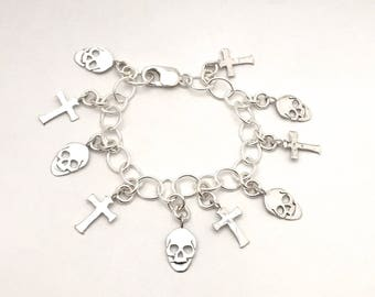 Skull & Cross Loaded Charm Bracelet Made from Silver Vintage American Dime Coins